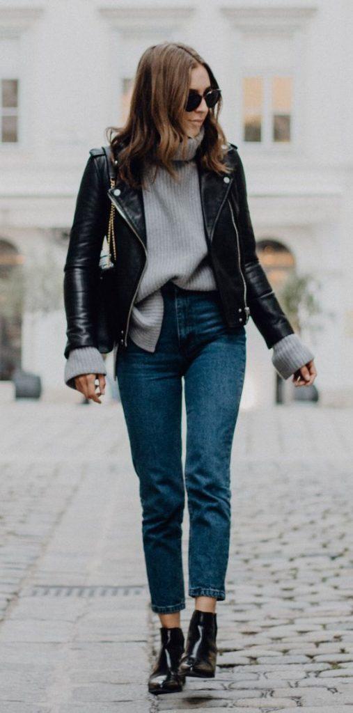 Jaqueta de couro combina superbem
