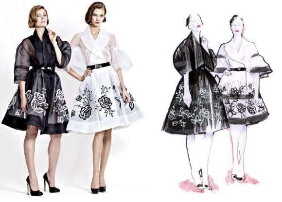 Dior inseriu croquis em seu lookbook