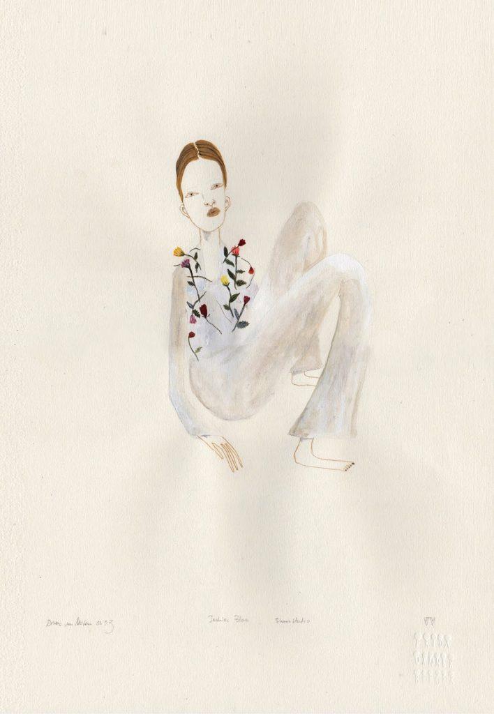 Frida usa lápis, tinta acrílica e aquarela