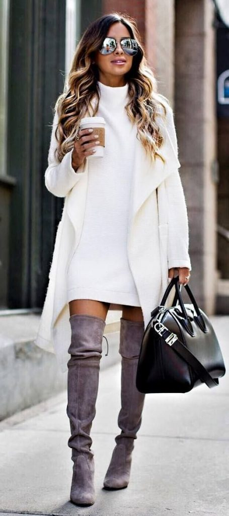 Botas 2018: bota over the knee com vestido branco
