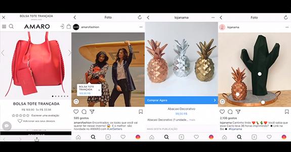 Reprodução de telas da marca Amaro com a ferramenta de compras no Instagram