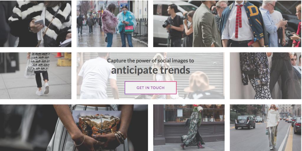 Imagens de redes sociais do site da Heuritech, que usa inteligência artificial na moda