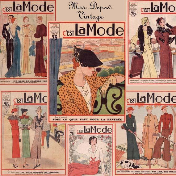 Coleção de revistas C'est la Mode, da década de 1930