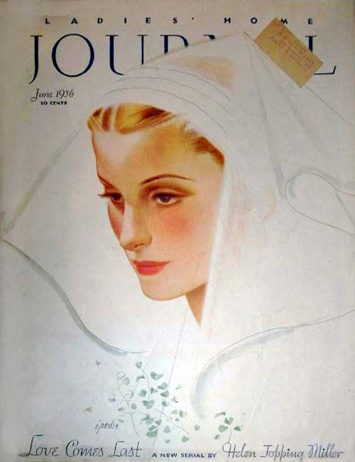 Revista de moda de 1930, retratando a mulher como noiva